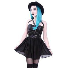 Harness korte jurk met O-ringen, gespen en bandjes zwart - Gothic Metal