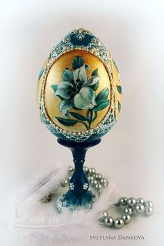 Easter egg  hand painted egg  Tender lilies... by LAIVA on Etsy, $198.00