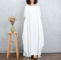 Linen dress Cotton Maxi dress Casual loose Kaftan Party Dress Extravagant Daywear Dress Plus size tunic dresses Large size dress