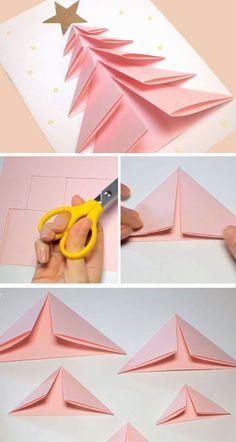 DIY Christmas Card Ideas for Families - 3D Christmas Tree Card - Joyeux Noel20