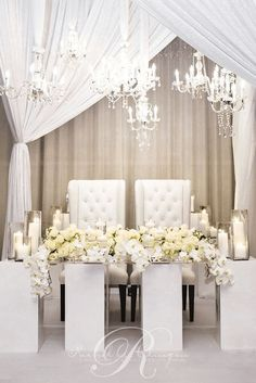 Luxury white bride and groom wedding reception chairs; Via Rachel A. Clingen Wedding & Event Design decoration white White Bride and Groom Wedding Reception Chairs - MODwedding Wedding Reception Chairs, Head Table Wedding, Bridal Table, Reception Decorations, Wedding Centerpieces, Tall Centerpiece, Sweet Heart Table Wedding, Quinceanera Centerpieces, Backdrop Decorations