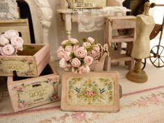 Dollhouse and tea-time, Shabby pink  tray - Accessory for a French dollhouse in 1:12th scale