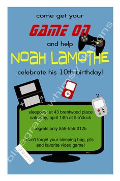 Boy's Video Game Birthday Party green red and by BluegrassWhimsy, $12.00
