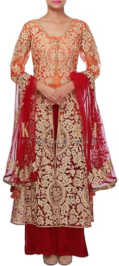 Buy Online from the link below. We ship worldwide (Free Shipping over US$100) http://www.kalkifashion.com/straight-suit-in-orange-and-purple-with-zari-embroidered-butti-only-on-kalki.html