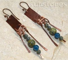 Hammered Rustic Copper Earrings with Gemstones by SunStones, $14.00