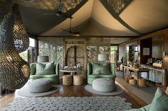 ngala tented camp - Mooi die lange loper, en de kleuren & setup van de stoelen.
