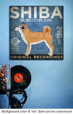Shiba Inu records dog graphic illustration art on gallery wrapped canvas by stephen fowler by geministudio on Etsy https://www.etsy.com/listing/119050586/shiba-inu-records-dog-graphic