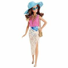 Barbie Colecionável Férias De Verão Azul Morena Mattel R$ 119.99
