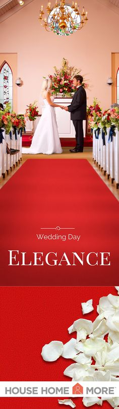 Make an entrance to remember as you walk down the aisle on a red carpet. Elegant, glamorous, and timeless.
