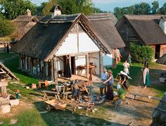 Some re-enactors in a Celtic house in Mitterkirchen