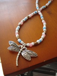 Silver dragonfly necklace with white blue and pink glass beads | aazartsjewelry - Jewelry on ArtFire