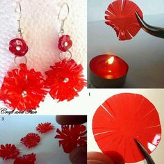 Melted plastic earrings