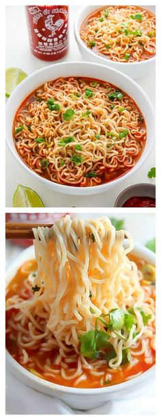 Spicy Sriracha Ramen Noodle Soup (Video) Easy Homemade Ramen Noodle Soup Ready in just 20 minutes!Easy Homemade Ramen Noodle Soup Ready in just 20 minutes! Healthy Ramen, Vegetarian Ramen, Vegetarian Recipes, Healthy Recipes, Spicy Ramen Noodles, Ramen Noodle Soup, Chicken Noodles, Egg Noodles, Soup With Noodles