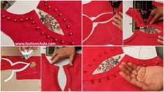 Creative Neck Design Cutting and Stitching Tutorial - Kurti Blouse Churidhar Neck Designs, Neck Designs For Suits, Tunic Designs, Dress Neck Designs, Hand Designs, Sleeve Designs, Churidhar Designs, Kurta Designs, Salwar Suit Neck Designs