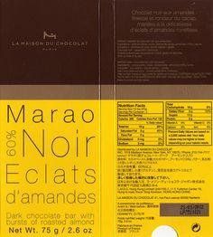 tablette de chocolat noir gourmand la maison du chocolat marao noir eclats d'amandes 60
