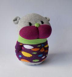 stuffed toy sock animal doll hamster soft toy  purple nursery children plush creature. $19.00, via Etsy.