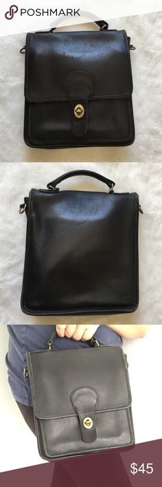 """Vintage Coach Black Station Legacy Bag Vintage Coach Black Station Legacy Bag. Has normal signs of vintage wear. No strap. 10"""" tall and 8.5"""" wide. Please look at pictures for better reference. Happy shopping!!! Coach Bags"""