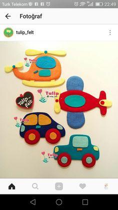 Arabalar vb. Baby Crafts, Felt Crafts, Diy And Crafts, Crafts For Kids, Baby Set, Baby Quiet Book, Quiet Book Patterns, Felt Quiet Books, Felt Embroidery