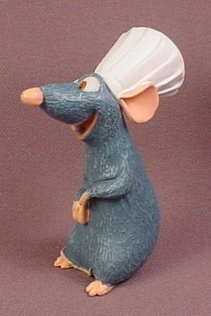 Disney Ratatouille Remy Rat With Chef Hat PVC Figure, 2 3/4 Inches Tall, Disney Figurine, Pixar