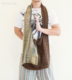 Zen Purist Hippie Hobo Unisex Unique Handwoven Patchwork Monk Sling Shoulder Bag (MB-S2)