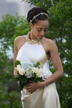 Natural Crown Twists     Photos: Andre Walker  Gown: Cassandra Bromfield  Headpiece: Beauloni Style  Hair: Khamit Kinks  Make-up: Nicole Lundy