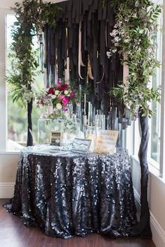 Black Sequin tablecloth, sequin table linen, sweetheart table inspiration, wedding, sequin tablecloth,