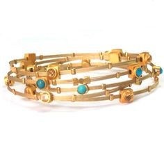 $62. Yellow gold plated flexible bangles - Set of 5. So beautiful!