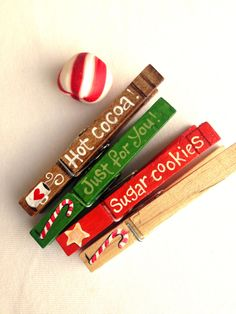 CHRISTMAS CLOTHESPINS hand painted magnetic pegs just for you hot cocoa sugar cookies candy canes by SugarAndPaint on Etsy