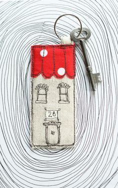 Freehand Embroidered Key Chain/Ring - White House/Cottage with Polka Dots Roof