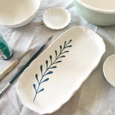Enjoying hand painting and glazing today #handmade #ceramics #pottery