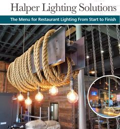 On this port-city themed project, Halper Lighting Solutions (HLS) was asked to design fixtures that would bind rope to sail, lock brass to chain, and lash dock to deck. Restaurant Lighting, Unique Restaurants, Lighting Solutions, Deck, Brass, Chain, City, Projects, Design