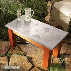 concrete diy projects   Concrete table with leaf prints   DIY Projects & Crafts
