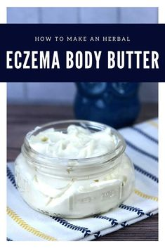 Homemade Eczema Body Butter With Aloe Vera How to make a whipped body butter for eczema or dry skin. This home remedies for eczema helps relieve dry skin and moisturize with shea butter, cocoa butter, and aloe vera butter and essential… Homemade Body Butter, Shea Body Butter, Whipped Body Butter, Homemade Make Up, Best Body Butter, Homemade Deodorant, Whipped Soap, Homemade Moisturizer, Homemade Beauty
