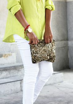 White jeans are a perfect pairing for bright colours during warmer months. www.stylestaples.com.au