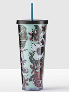 Starbucks Tropical Scene Cold Cup Tumbler Venti 24 fl oz Review Starbucks Tumbler, Starbucks Cup, Copo Starbucks, Tapas, Cute Cups, Travel Cup, Personalized Cups, Coffee Drinkers, Mug Cup