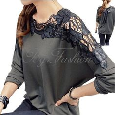 Sexy Womens Ladies Hollow Lace Crochet Floral Batwing Sleeve T Shirt Blouse Tops #Zanzea #Blouse #Casual