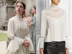"Reign 3x03, Mary wears this Alice + Olivia ""Brett"" victorian lace blouse with a custom skirt by the Reign Costumes Department, a White by Vera Wang sash, and Gillian Steinhardt rings"