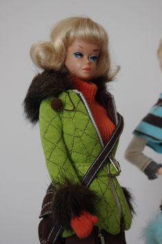 Fashion Queen in Blonde Wig and Retro Ski Outfit