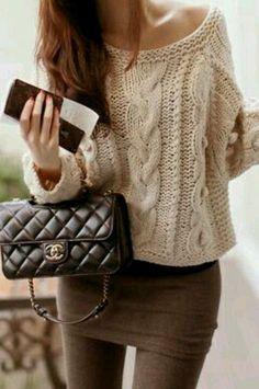 Просто довольно стиль | Последние тенденции моды: Уличная мода грязно-белый свитер и юбку цвета хаки