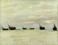 Boats on the Beach at Berck by Vicomte Ludovic Lepic ca. A work from the collections of the de Young and Legion of Honor museums of San Francisco, CA. De Kooning, Image, Painting, Art, Impressionist
