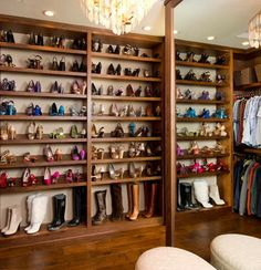 A shoe-lover's dream closet would have a nice space just for their collection. This one might do the trick! What does your dream closet look like for your Orlando Homes? Shed Storage, Closet Storage, Shoe Closet, Closet Organization, Storage Spaces, Boot Storage, Storage Ideas, Closet Rooms, Bedroom Closets