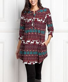 Burgundy Reindeer Button-Front Side-Pocket Tunic - Plus Too
