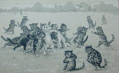 cats illustrated | Rugby-Pioneers: Louis Wain : cats playing rugby
