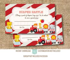 Help the mom-and-dad-to-be with all those diapers! Just download and print. Send these out with the invites so guests will bring diapers to the shower. Then enter them all into a raffle. The circus theme is perfect for a boy or a girl. Click through for matching invites, other games, thank you cards and more. Or shop our 800+ designs for every event. Only at Aesthetic Journeys