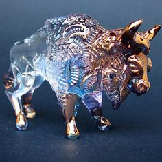 Bison Buffalo Figurine Hand Blown Glass Gold by ProchaskaGallery,