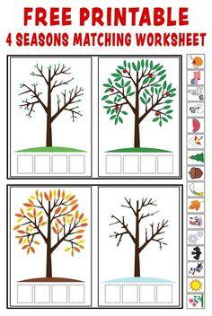http://www.mpmschoolsupplies.com/ideas/3461/season-match-up/: Vier Jahreszeiten, Jahr, Kalender, Bilder mit Baum Bäumen kleben und schneiden, zuordnen, Frühling, Sommer, Herbst, Winter, Arbeitsblätter, sachkunde, Vorschule, Klasse 1 2 3