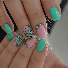 Butterfly nail art, Festive nails, Fresh nails, Green nails ideas, June nails 2016, Mint nails, Nails with rhinestones, Soft- blue nails