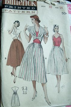 UNCUT 1950s Butterick Pattern 5707 Ladies' by anne8865