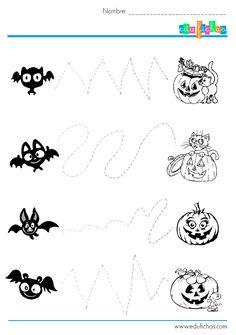 Descarga actividades de grafomotricidad de Halloween. Ejercicios para repasar con líneas punteadas con dibujos de halloween. Actividades gratis para niños..