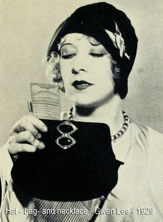 Downton Abbey Fashion Era - An ensemble of accessories for Spring wear in 1929, Gwen Lee chooses bag, hat and necklace that match. The hat is of black felt with the up-turned brim – now in such vogue, held in place by a silver and onyx ornament. The bag, also of felt, is decorated with an ornament similar to that worn on the hat. Her choker necklace is of silver and onyx.